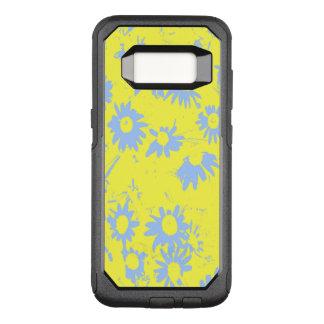 Capa OtterBox Commuter Para Samsung Galaxy S8 Flores azuis do cone com fundo amarelo