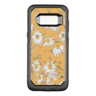 Capa OtterBox Commuter Para Samsung Galaxy S8 Flores brancas do cone com fundo alaranjado
