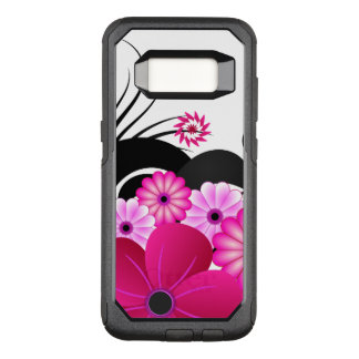 Capa OtterBox Commuter Para Samsung Galaxy S8 Flores florais cor-de-rosa magentas fúcsia chiques