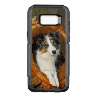 Capa OtterBox Commuter Para Samsung Galaxy S8+ Foto azul do cão de border collie Merle -