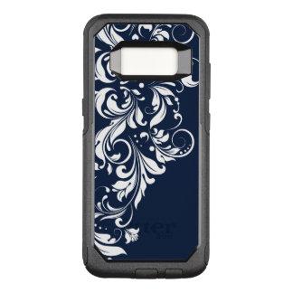 Capa OtterBox Commuter Para Samsung Galaxy S8 Fundo azul marinho do laço floral branco