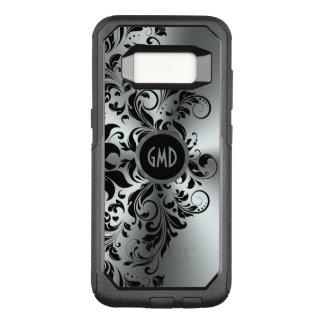 Capa OtterBox Commuter Para Samsung Galaxy S8 Fundo de prata brilhante do laço floral preto