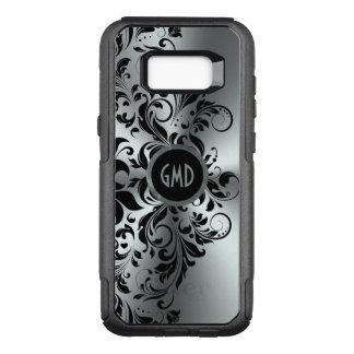 Capa OtterBox Commuter Para Samsung Galaxy S8+ Fundo de prata brilhante GR4 do laço floral preto