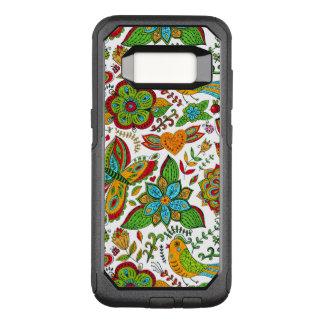 Capa OtterBox Commuter Para Samsung Galaxy S8 G7 floral retro colorido do teste padrão da