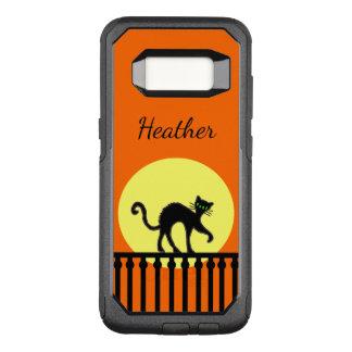 Capa OtterBox Commuter Para Samsung Galaxy S8 Gato preto arqueado para trás na Lua cheia na