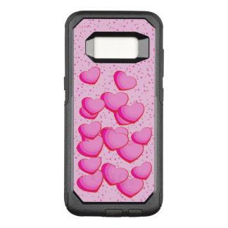 Capa OtterBox Commuter Para Samsung Galaxy S8 Grupo de corações cor-de-rosa brilhantes em