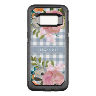 Capa OtterBox Commuter Para Samsung Galaxy S8 Guingão floral e azul da aguarela com nome