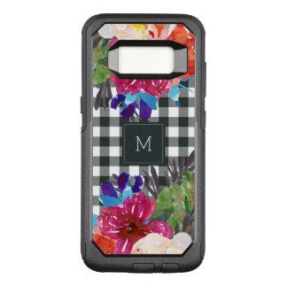 Capa OtterBox Commuter Para Samsung Galaxy S8 Guingão floral e preto da aguarela com monograma