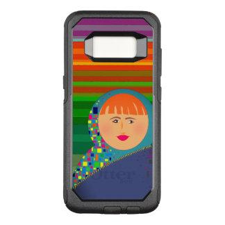 Capa OtterBox Commuter Para Samsung Galaxy S8 Hipster colorido das listras da boneca do russo de