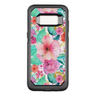 Capa OtterBox Commuter Para Samsung Galaxy S8 Ilustração colorida da colagem das flores das