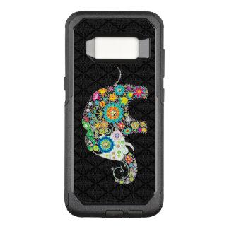 Capa OtterBox Commuter Para Samsung Galaxy S8 Ilustração floral colorida do elefante no preto