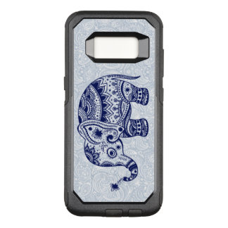 Capa OtterBox Commuter Para Samsung Galaxy S8 Ilustração floral do elefante azul marinho