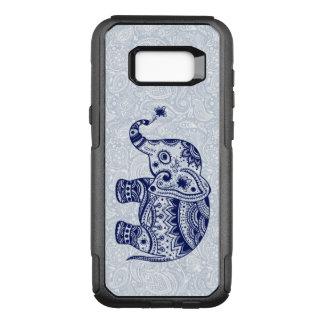 Capa OtterBox Commuter Para Samsung Galaxy S8+ Ilustração floral tribal do elefante azul escuro