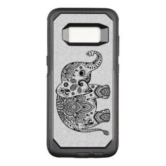 Capa OtterBox Commuter Para Samsung Galaxy S8 Ilustração preta bonito floral do elefante de