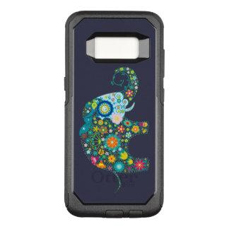 Capa OtterBox Commuter Para Samsung Galaxy S8 Ilustração retro colorida do elefante das flores