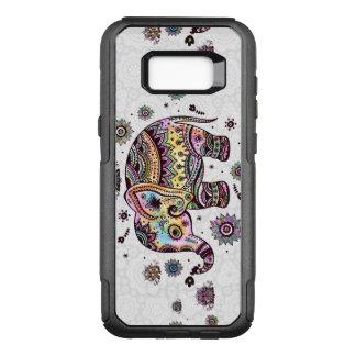 Capa OtterBox Commuter Para Samsung Galaxy S8+ Ilustração tribal floral colorida do elefante