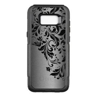 Capa OtterBox Commuter Para Samsung Galaxy S8+ Laço floral preto & textura cinzenta metálica