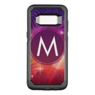 Capa OtterBox Commuter Para Samsung Galaxy S8 Laranja roxa do monograma das palmeiras do por do