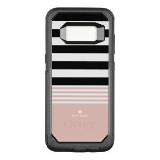 Capa OtterBox Commuter Para Samsung Galaxy S8 Listrado preto, branco & cor-de-rosa personalizado