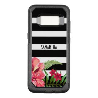 Capa OtterBox Commuter Para Samsung Galaxy S8 Listras preto e branco com flores
