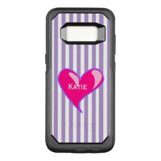 Capa OtterBox Commuter Para Samsung Galaxy S8 Listras roxas e exemplo cor-de-rosa de Samsung S8