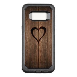 Capa OtterBox Commuter Para Samsung Galaxy S8 Madeira rústica coração queimado