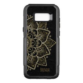 Capa OtterBox Commuter Para Samsung Galaxy S8+ Mandala elegante do brilho do preto e do ouro