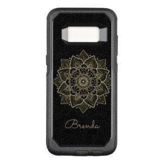 Capa OtterBox Commuter Para Samsung Galaxy S8 Mandala floral & monograma do brilho do ouro