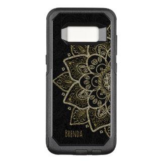 Capa OtterBox Commuter Para Samsung Galaxy S8 Mandala & monograma elegantes do brilho do ouro