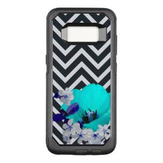 Capa OtterBox Commuter Para Samsung Galaxy S8 mistura da flor da viga preto e branco, azul