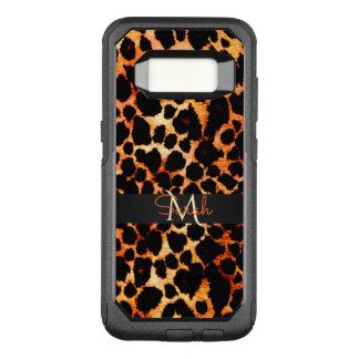 Capa OtterBox Commuter Para Samsung Galaxy S8 Monograma animal do impressão do leopardo de Brown