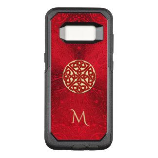 Capa OtterBox Commuter Para Samsung Galaxy S8 Monograma celta vermelho da mandala do nó