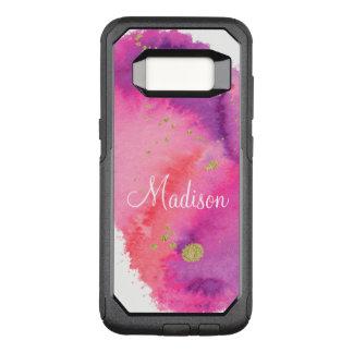 Capa OtterBox Commuter Para Samsung Galaxy S8 Monograma chique feminino da aguarela do rosa do