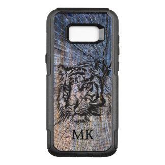 Capa OtterBox Commuter Para Samsung Galaxy S8+ Monograma de madeira do azul do tigre