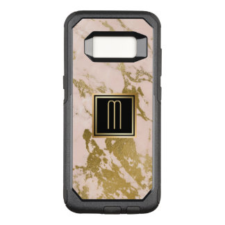 Capa OtterBox Commuter Para Samsung Galaxy S8 Monograma de mármore rosa pálido do ouro