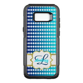Capa OtterBox Commuter Para Samsung Galaxy S8+ Monograma de Quatrefoil e teste padrão azul dos