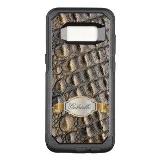 Capa OtterBox Commuter Para Samsung Galaxy S8 Monograma do costume da pele de Crocodil