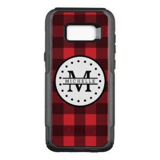 Capa OtterBox Commuter Para Samsung Galaxy S8+ Monograma vermelho do nome do lenhador da xadrez
