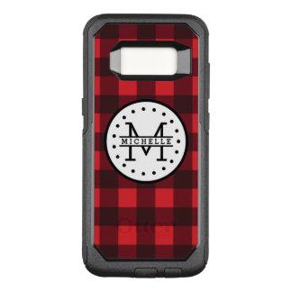 Capa OtterBox Commuter Para Samsung Galaxy S8 Monograma vermelho do nome do lenhador da xadrez