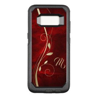 Capa OtterBox Commuter Para Samsung Galaxy S8 Monograma vermelho elegante da folha do redemoinho