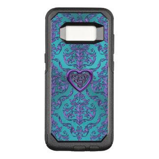 Capa OtterBox Commuter Para Samsung Galaxy S8 Nó celta do coração no damasco do roxo de turquesa