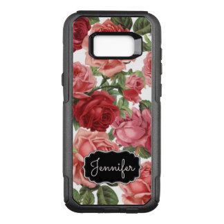 Capa OtterBox Commuter Para Samsung Galaxy S8+ Nome floral dos rosas rosas vermelha elegantes