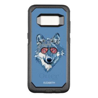 Capa OtterBox Commuter Para Samsung Galaxy S8 O lobo azul psicadélico com óculos de sol