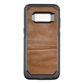 Capa OtterBox Commuter Para Samsung Galaxy S8 O olhar da grão de couro maleável macia de Brown
