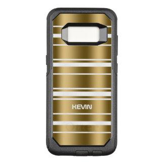 Capa OtterBox Commuter Para Samsung Galaxy S8 O ouro listra o teste padrão no fundo branco