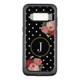Capa OtterBox Commuter Para Samsung Galaxy S8 O vintage feminino preto das bolinhas floresce o