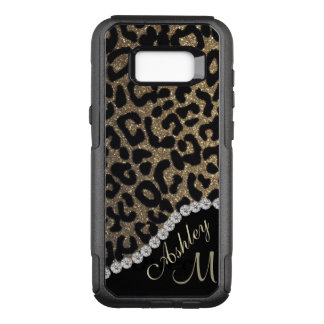 Capa OtterBox Commuter Para Samsung Galaxy S8+ Olhar do monograma do leopardo do diamante