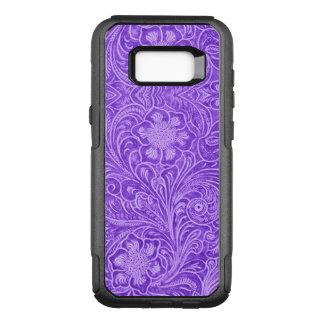 Capa OtterBox Commuter Para Samsung Galaxy S8+ Olhar floral roxo do couro da camurça do teste
