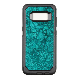 Capa OtterBox Commuter Para Samsung Galaxy S8 olhar floral verde do couro da camurça do teste