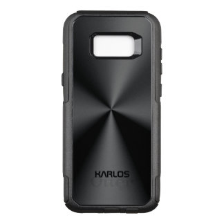 Capa OtterBox Commuter Para Samsung Galaxy S8+ Olhar inoxidável metálico do preto brilhante do